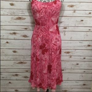 Adrianna Papell Pink and Red spaghetti strap dress